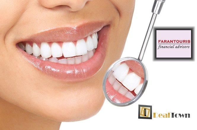 45€ από 230€ για μια (1) συνεδρία λεύκανσης δοντιών, έναν (1) καθαρισμό δοντιών με υπερήχους, αφαίρεση πέτρας & χρωστικών, στίλβωση και σοδοβολή και ένα (1) πλήρη στοματικό έλεγχο. Ανεπανάληπτη προσφορά από το Farantouris Financial Advisors. Έκπτωση 80%!