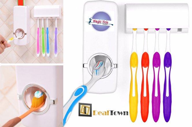 5.90€ για ένα (1) Σετ Dispenser οδοντόκρεμας και θήκη για 5 οδοντόβουρτσες, από το κατάστημα Magic Hole στην Αθήνα ή 8.90€ με πανελλαδική αποστολή στο χώρο σας!!Τέλος στην σπατάλη της οδοντόκρεμας. Βάλτε σε μια τάξη στις οδοντόβουρτσες. Προστατέψτε τις οδοντόβουρτσες όλης τις οικογενείας από όλα αυτά τα βακτηρία και μικρόβια που κυκλοφορούν στο μπάνιο σας!!