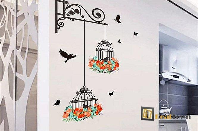 15€ για πανέμορφο σετ αυτοκόλλητων για να διακοσμήσετε το δωμάτιό σας! Μία ξεκούραστη και όμορφη εικόνα που σας παραπέμπει στην εξοχή με το κελάηδημα των πουλιών!Δωρεάν αποστολή του προϊόντος στην Αθήνα! εικόνα