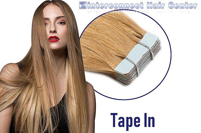 75€ για 10 τεμάχια (5 ζεύγη) tape hair extensions με μήκος τρίχας 50-55εκ. αρίστης ποιότητας φυσικά μαλλιά (εισαγωγής από την Γερμανία), στο «Interconnect Hair Center» στη Γλυφάδα! Περιλαμβάνει εργασία τοποθέτησης & κούρεμα τους μετά την εφαρμογή. εικόνα