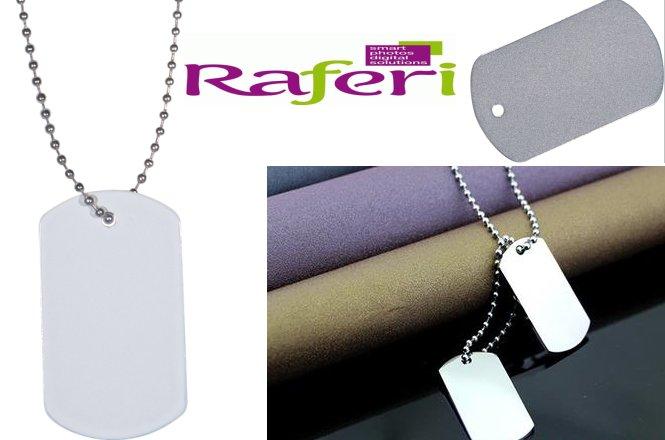 7€ για μεταλλική ταυτότητα σε λευκό και ασημί με χάραξη μια πλευρά με αλυσίδα 70εκ από την Raferi Digital. Με δυνατότητα πανελλαδικής αποστολής στον χώρο σας.