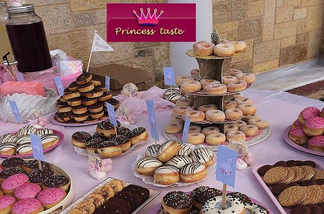 190€ για Τραπέζι 100 Ατόμων με Μεγάλη ποικιλία από ντόνατς, λουκουμάδες με ζάχαρη και γλάσο & φρέσκια λεμονάδα ή χυμό φρούτων εποχής από το εργαστήριο ζαχαροπλαστικής Princess Taste στη Νέα Κηφισιά. Μοναδικές γευστικές δημιουργίες για βάπτιση, γάμο ή πάρτι με πρωτότυπο & μοντέρνο θέμα!!! εικόνα