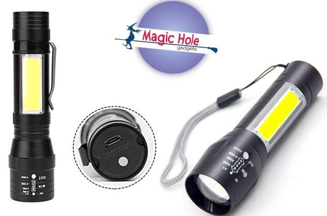 5.90€ για επαναφορτιζόμενο mini φακό COB LED με ζουμ με παραλαβή από το Magic Hole στην Αθήνα ή 8.90€ για πανελλαδική αποστολή στο χώρο σας. Πολύ ελαφρύς και πολύ μικρός για να τον έχετε πάντα μαζί σας.