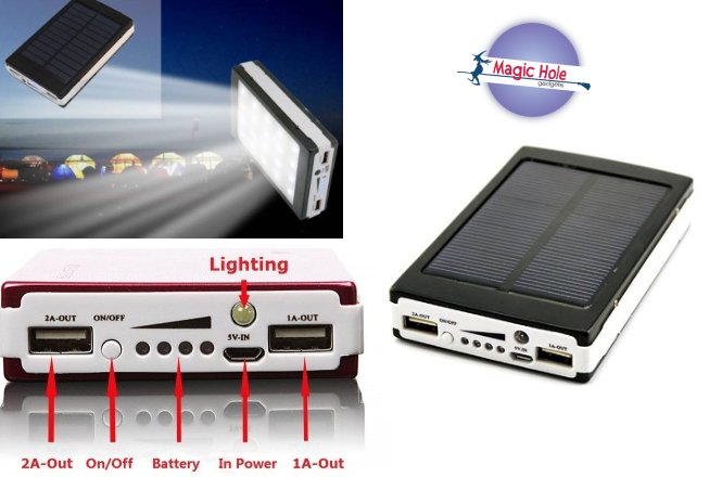 13.90€ Ηλιακό Power Bank Με Φωτιστικό LED με παραλαβή από το Magic Hole στην Αθήνα ή 16.90€ για πανελλαδική αποστολή στο χώρο σας. Φορτίζει από τον ήλιο ή από οποιαδήποτε θύρα USB ενώ διαθέτει και φακό LED. Διαθέτει δύο εξόδους φόρτισης USB 1Α και 2Α για παροχή ενέργειας σε κάθε αγαπημένη σας συσκευή κινητό ή tablet, ακόμα και στην μέση του πουθενά! εικόνα