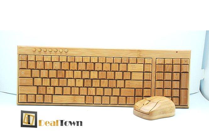 54.90€ σετ πληκτρολογίου και ποντικιού κατασκευασμένο από ξύλο Μπαμπού. Ευφάνταστη κατασκευή που θα δώσει άλλη ομορφιά στο γραφείο σας!! Δωρεάν αποστολή των προϊόντων στην Αθήνα! εικόνα