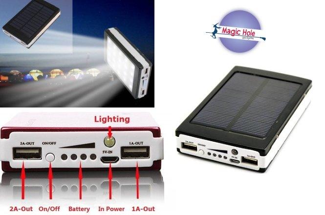 13.90€ Ηλιακό Power Bank Με Φωτιστικό LED με παραλαβή από το Magic Hole στην Αθήνα ή 16.90€ για πανελλαδική αποστολή στο χώρο σας. Φορτίζει από τον ήλιο ή από οποιαδήποτε θύρα USB ενώ διαθέτει και φακό LED. Διαθέτει δύο εξόδους φόρτισης για παροχή ενέργειας σε συσκευή κινητό ή tablet, ακόμα και στην μέση του πουθενά!