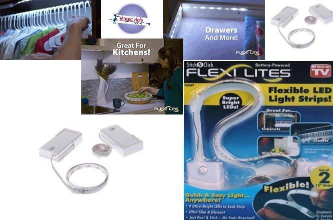 8.90€ Εύκαμπτα Ελαστικά Φώτα 9 LED Flexi Lites–Σετ των 2 Τεμαχίων με παραλαβή από το Magic Hole ή 11.90€ για πανελλαδική αποστολή στο χώρο σας. Εύκολη τοποθέτηση χωρίς εργαλεία με αυτοκόλλητη ταινία που διαθέτουν στην πίσω πλευρά. εικόνα