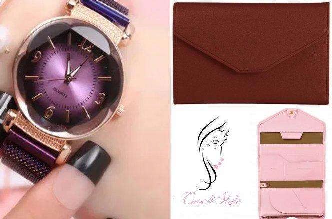 Από 22€ για ένα γυναικείο SET που περιλαμβάνει γυναικείο ρολόι Magnet Purple & πορτοφόλι TEMPER. Aπό το Time4Style στην Αθήνα. Δυνατότητα παραλαβής από το κατάστημα ή και με πανελλαδική αποστολής στον χώρο σας!! εικόνα